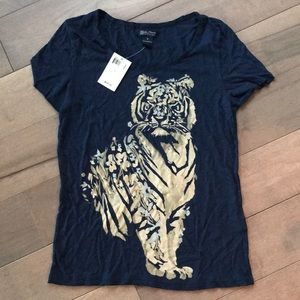 NWT navy Lucky t shirt with tiger floral design